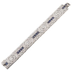18 Carat Diamonds and 5 Carat Sapphires French Art Deco Bracelet