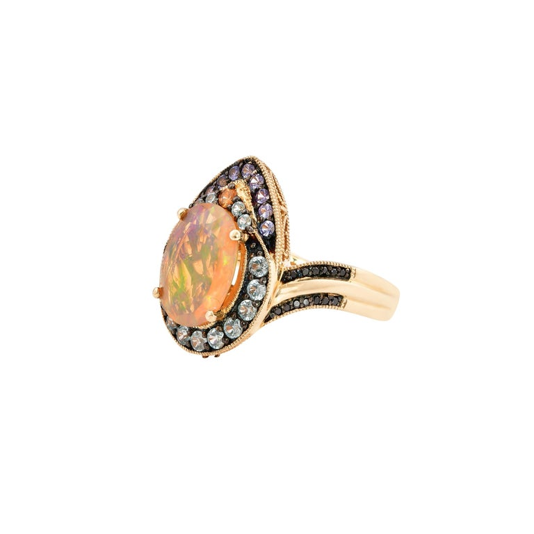 Contemporary 1.8 Carat Ethiopian Opal Ring in 14 Karat Yellow Gold with Diamonds For Sale