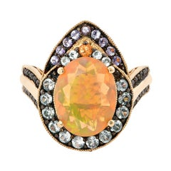 1.8 Carat Ethiopian Opal Ring in 14 Karat Yellow Gold with Diamonds