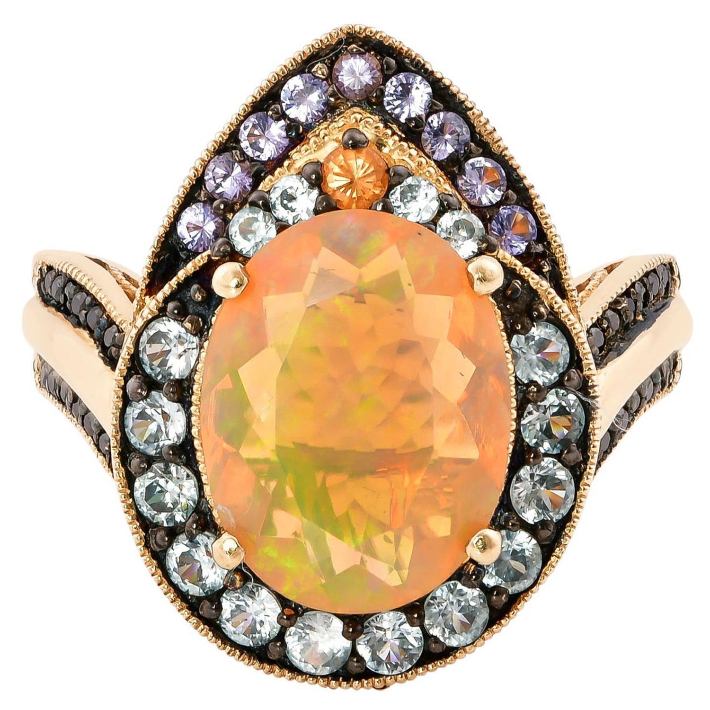 1.8 Carat Ethiopian Opal Ring in 14 Karat Yellow Gold with Diamonds