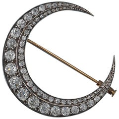 18 Carat French Crescent Brooch with Diamonds