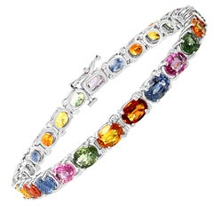 18 Carat Genuine Natural Multi Sapphires Tennis Bracelet 14 Karat White Gold