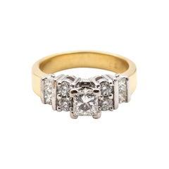 18 Carat Gold 0.84 Carat Princess Cut and Round Diamond Vintage Engagement Ring