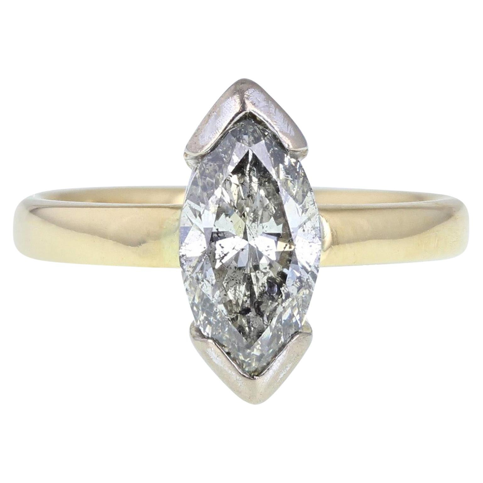 18 Carat Gold 2 Carat Marquise Cut Diamond Solitaire Engagement Ring