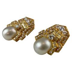 18 Carat Gold 5 Carat Brilliant White Diamond Pearl Earrings