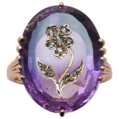 18 Carat Gold Amethyst and Rose Cut Diamond Flower Ring