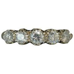 18 Carat Gold and 0.85 Carat Diamond Five Stone Stack Half Eternity Ring