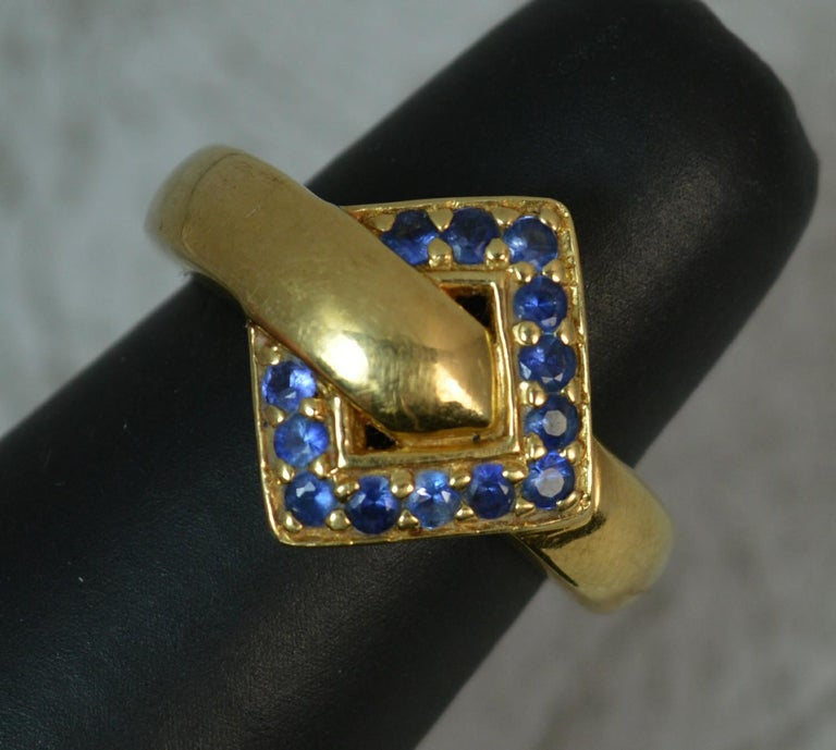 18 Carat Gold and Blue Sapphire Buckle Band Ring For Sale 6