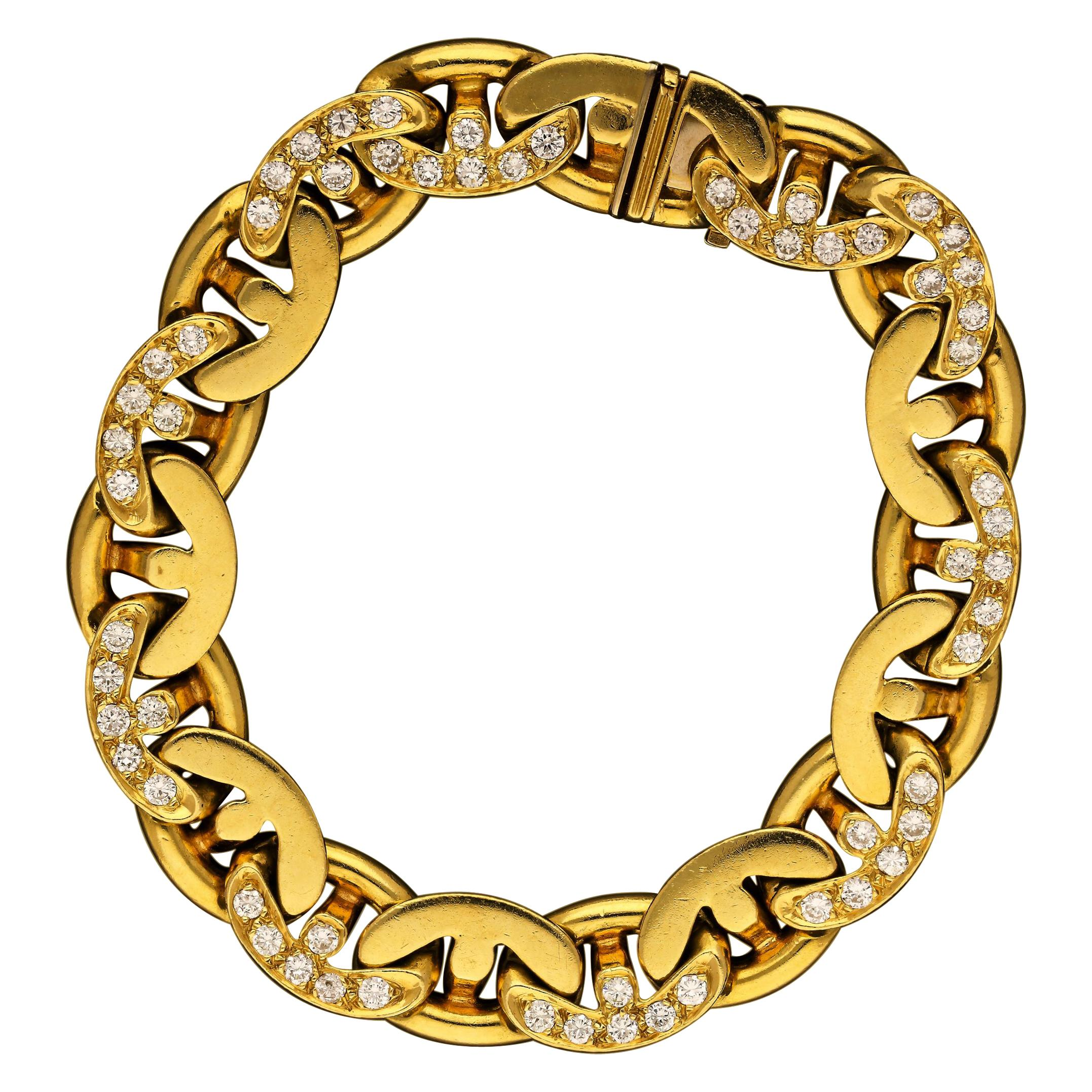 Bulgari 18 Carat Gold and Diamond Anchor Chain Link Bracelet circa 1980s