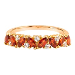 18 Carat Gold and Diamond Garnet Cluster Engagement Ring