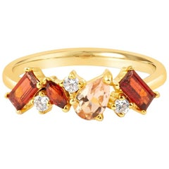 18 Carat Gold and Diamond Garnet Sapphire Cluster Ring