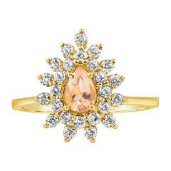 18 Carat Gold and Diamond Morganite Engagement Ring