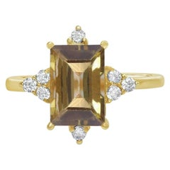 18 Carat Gold and Diamond Tourmaline Ring