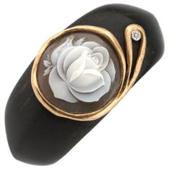 18 Carat Gold and Ebony Bracelet with Diamonds and Rose Carving Cameo