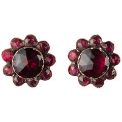 18 Carat Gold and Garnet Cluster Earrings