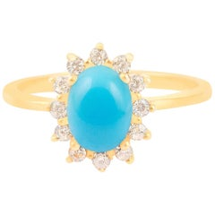 18 Carat Gold and High Quality Diamond Turquoise Engagement Ring