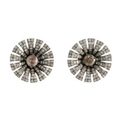 18 Carat Gold and Silver Diamond Earrings