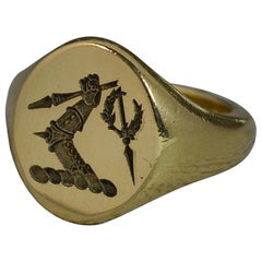 18 Carat Gold Armoured Arm Holding Spear Intaglio Seal Signet Ring