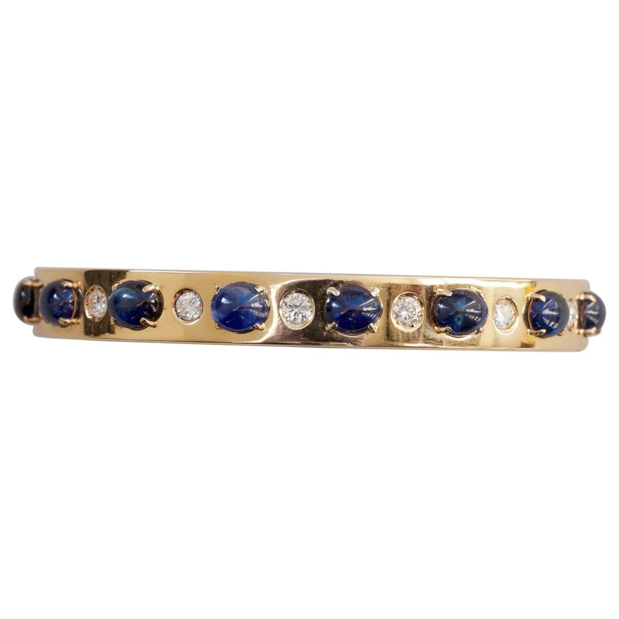 18 Carat Gold Bangle with Diamonds and Sapphires