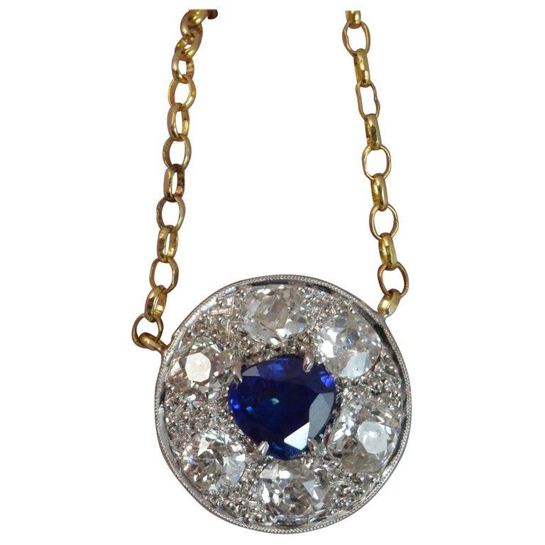 18 Carat Gold Blue Sapphire 1.7 Carat Old Cut Diamond Necklace Pendant For Sale