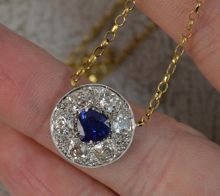 18 Carat Gold Blue Sapphire 1.7 Carat Old Cut Diamond Necklace Pendant For Sale 5