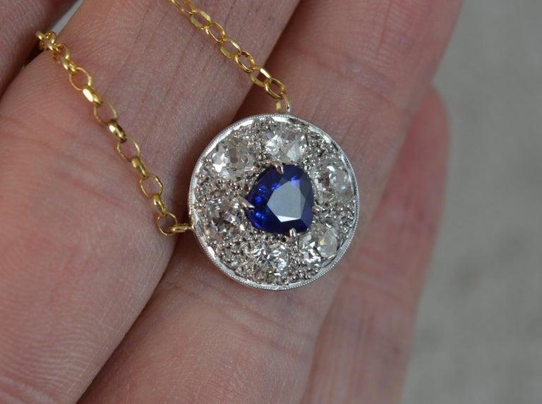 Victorian 18 Carat Gold Blue Sapphire 1.7 Carat Old Cut Diamond Necklace Pendant For Sale