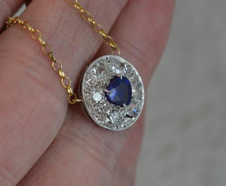 Old European Cut 18 Carat Gold Blue Sapphire 1.7 Carat Old Cut Diamond Necklace Pendant For Sale