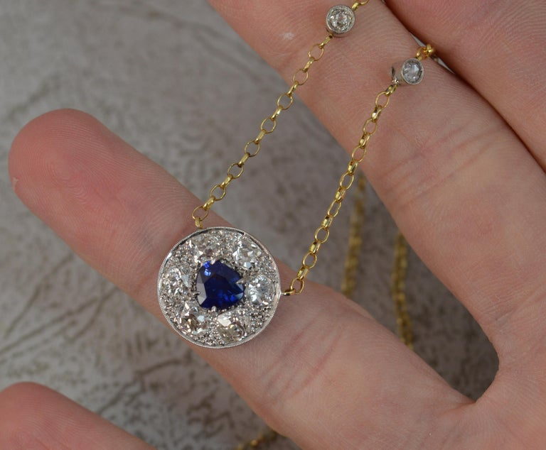 18 Carat Gold Blue Sapphire 1.7 Carat Old Cut Diamond Necklace Pendant In Excellent Condition For Sale In St Helens, GB
