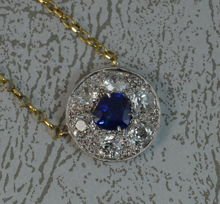 Women's 18 Carat Gold Blue Sapphire 1.7 Carat Old Cut Diamond Necklace Pendant For Sale