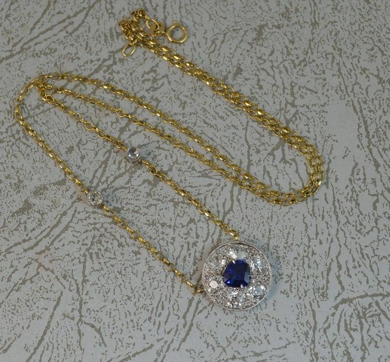 18 Carat Gold Blue Sapphire 1.7 Carat Old Cut Diamond Necklace Pendant For Sale 1