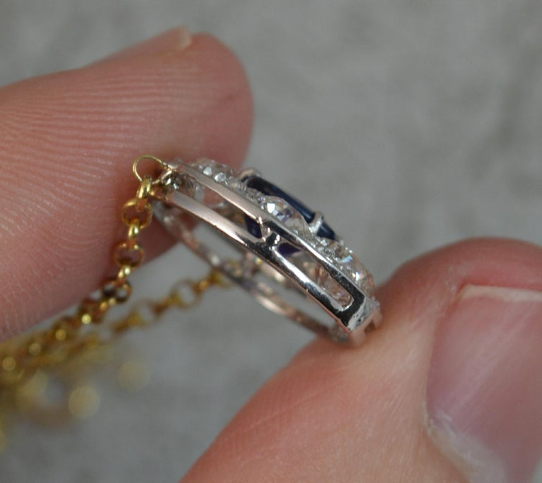 18 Carat Gold Blue Sapphire 1.7 Carat Old Cut Diamond Necklace Pendant For Sale 3