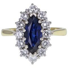 18 Carat Gold Blue Sapphire Diamond Navette Cluster Ring