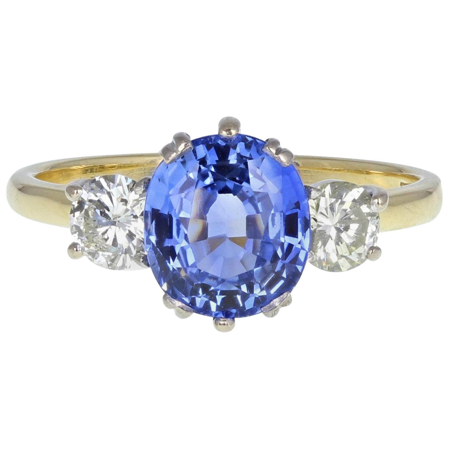 18 Carat Gold Ceylon Sapphire Diamond Three-Stone Engagement Ring