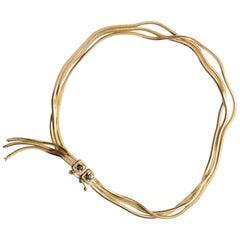 18 Carat Gold Chain and Black Diamonds Pavé Fringe Bracelet