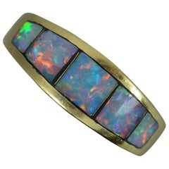 18 Carat Gold Colourful Opal Triplet Band Stack Ring
