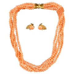 18 Carat Gold Coral and Diamond Earrings and Necklass Set
