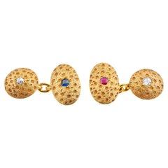 Stippled Design Cufflinks, 18 Carat Gold, Diamond, Sapphire & Ruby, English 1891