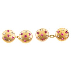 18 Carat Gold Cufflinks with Rubies and Diamonds in a Star Setting, English 1890