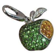 18 Carat Gold Demantoid Garnet Sapphire Bitten Apple Pendant Charm