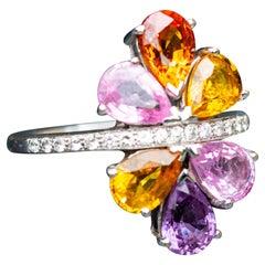 18 Carat Gold Diamond and Multi Gem Set Cluster Ring