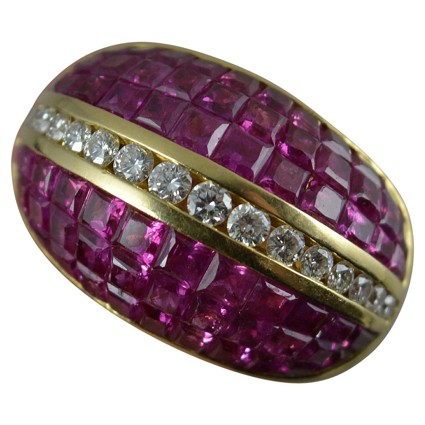 18 Carat Gold Diamond and Ruby Bombe Cluster Cocktail Ring