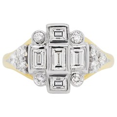 18 Carat Gold Diamond Art Deco Style Cluster Cocktail Ring