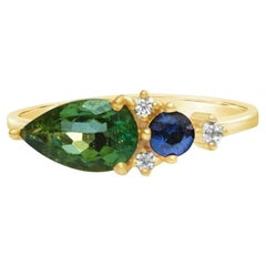 18 Carat Gold Diamond Cluster Ring with Sapphire and Tourmaline
