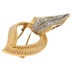Mellerio Leaf Brooch 18 Carat Gold and Diamond