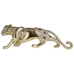 18 Carat Gold Diamond Sapphire Prowling Panther Brooch