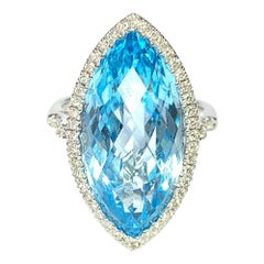 18 Carat Gold Edwardian Style Marquise Shape Blue Topaz and Diamond Cluster Ring