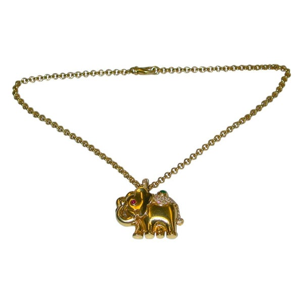 18 Carat Gold Elephant Pendant on Chain Set with Diamonds, Emerald & Ruby, 1995