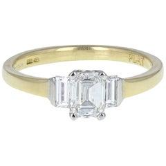 18 Carat Gold Emerald Cut 1.00 Carat Diamond Solitaire Ring with Diamond