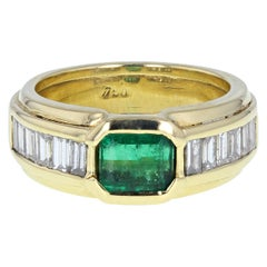 18 Carat Gold Emerald Diamond Band Ring