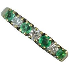 18 Carat Gold Emerald Diamond Half Eternity Stack Ring